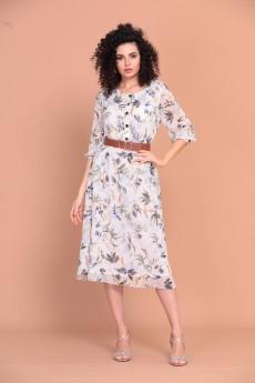 Платье 1350 белый + принт Твой Имидж