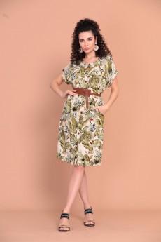 Платье 1366 зеленый + молочный Твой Имидж