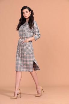 Платье 1410 серый + пудровый Твой Имидж