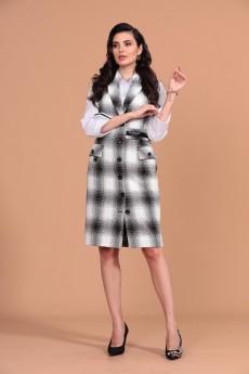 Костюм с платьем 1413 белый + серый+черный Твой Имидж