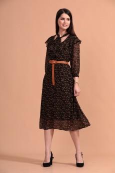 Платье 1439 черный + коричневый Твой Имидж
