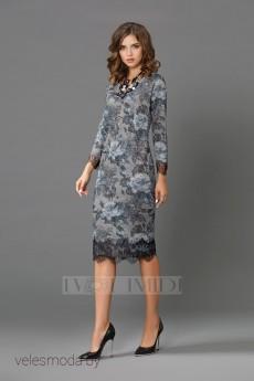 Платье 9875 бирюза+серый Твой Имидж