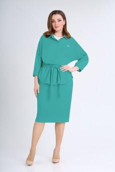 Костюм с юбкой 1193 бирюзово-зеленый VOLNA