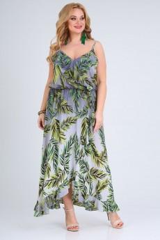 Платье 690 серо-зеленый принт Vasalale