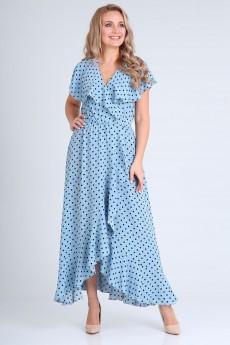 Платье 691голубой + горох Vasalale