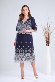 Платье 2105 синий + белый VeritaModa