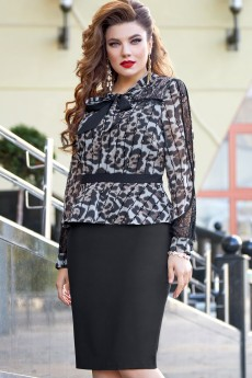 Платье 12993 леопардовый принт+черный Vittoria Queen