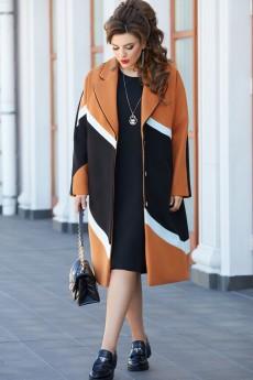 Пальто 14493 черный + терракот + голубой Vittoria Queen
