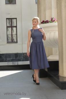 Платье 6107 синий+розовый горох YFS