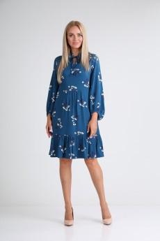 Платье 2103 синий+цветы YOUR SIZE